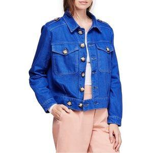 Free People Blue Eishenhower Slouchy Denim Jacket